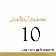 10 jaar - jubileum wenskaart - van harte gefeliciteerd