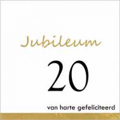 20 jaar - jubileum wenskaart - van harte gefeliciteerd