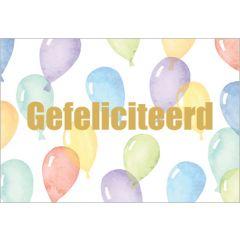 felicitatiekaart golden touch - gefeliciteerd - ballonnen