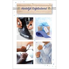 felicitatiekaart - hartelijk gefeliciteerd - schoen stropdas mobiel overhemd
