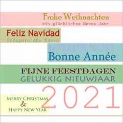 grote vierkante kerstkaart - fijne feestdagen frohe weihnachten feliz navidad joyeux noel merry christmas