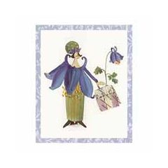 cadeaukaartje of bloemenkaartje silke leffler - dame met tas roze blauw