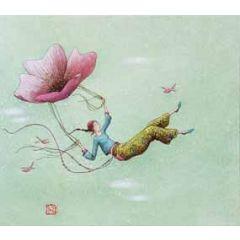wenskaart - gaelle boissonnard - vliegen aan bloem