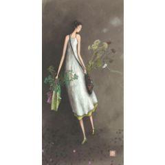 ansichtkaart met envelop - gaelle boissonnard - tassen en bloemen
