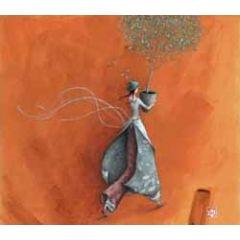 ansichtkaart met envelop - gaelle boissonnard - boompje oranje
