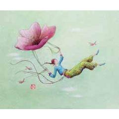 ansichtkaart met envelop - gaelle boissonnard - bloem parachute