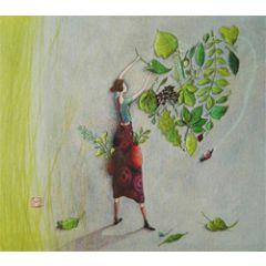 wenskaart - gaelle boissonnard - bladeren groen