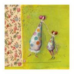 vierkante ansichtkaart met envelop - gaelle boissonnard - moeder en kind
