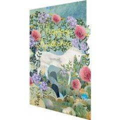 lasergesneden verjaardagskaart roger la borde -  happy birthday - eenhoorn tussen bloemen
