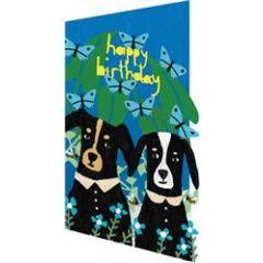 lasergesneden wenskaart roger la borde -  happy birthday - honden