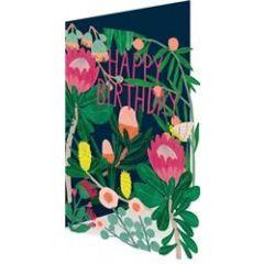 lasergesneden verjaardagskaart roger la borde -  happy birthday - bloemen