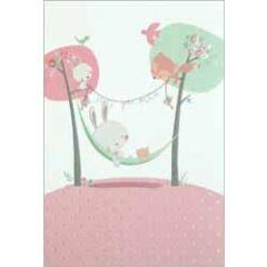 geboortekaartje busquets - konijntje in hangmat - roze