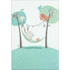 geboortekaartje busquets - konijntje in hangmat - blauw