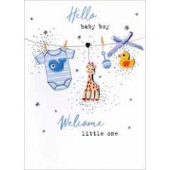 geboortekaartje - hello baby boy - kleertjes aan waslijn