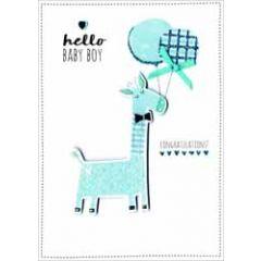 geboortekaartje - hello baby boy congratulations - giraffe