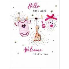 geboortekaartje - hello baby girl - kleertjes aan waslijn