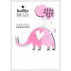 geboortekaartje - hello baby girl congratulations - olifant