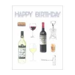 grote verjaardagskaart A4 - happy birthday - wijn