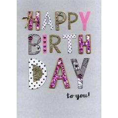 grote verjaardagskaart A4 - happy birthday  to you
