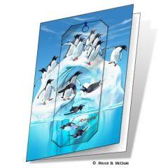 wenskaart met 3d boekenlegger - pinguins