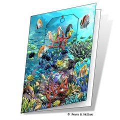 wenskaart met 3d boekenlegger - waterwereld