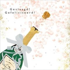 wenskaart gold leaf - geslaagd! gefeliciteerd! - champagne ontkurkt
