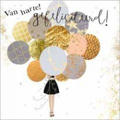 luxe felicitatiekaart gold leaf - van harte gefeliciteerd! - ballonnen