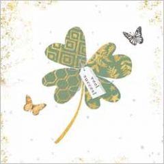wenskaart gold leaf - veel succes! - klavertje 4