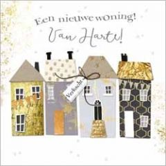 luxe felicitatiekaart gold leaf - een nieuwe woning! van harte!