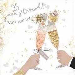 25 jaar getrouwd! van harte! - luxe felicitatiekaart gold leaf
