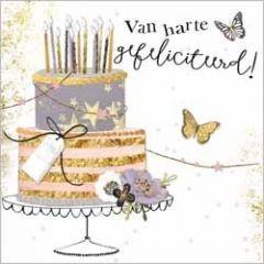 luxe felicitatiekaart gold leaf - van harte gefeliciteerd! - taart