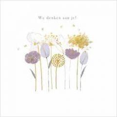luxe wenskaart gold leaf - we denken aan je! - bloemen