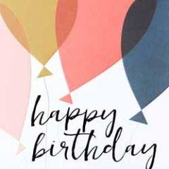 verjaardagskaart caroline gardner - screenprint - happy birthday - ballonnen
