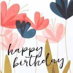 verjaardagskaart caroline gardner - screenprint - happy birthday - bloemen