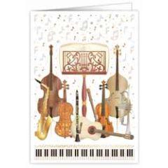 wenskaart A4 - muziekinstrumenten