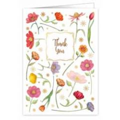 wenskaart A4 - thank you - bloemen