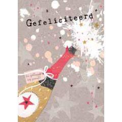 grote felicitatiekaart A4 - gefeliciteerd een spetterende dag toegewenst - champagne