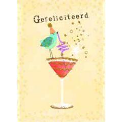 grote felicitatiekaart A4 - gefeliciteerd - vogel drinkt cocktail