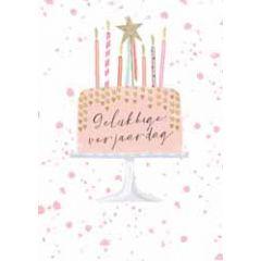 grote verjaardagskaart A4 - gelukkige verjaardag - taart met hartjes