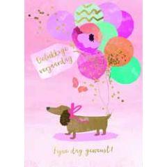 grote verjaardagskaart A4 - gelukkige verjaardag fijne dag gewenst! - teckel met ballonnen