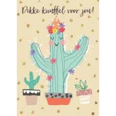 grote kaart A4 - dikke knuffel voor jou! - cactus