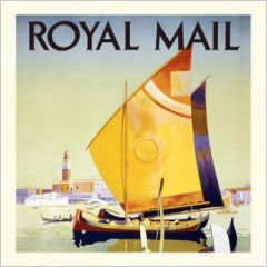 vierkante ansichtkaart gwenaëlle trolez - royal mail - zeilboot