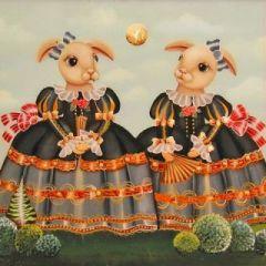 vierkante ansichtkaart gwenaëlle trolez - konijnen