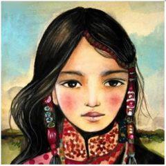 vierkante ansichtkaart gwenaëlle trolez - meisje