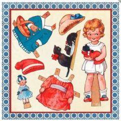 vierkante ansichtkaart gwenaëlle trolez - aankleedpop - meisje met katten