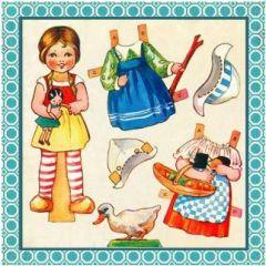 vierkante ansichtkaart gwenaëlle trolez - papierpop - meisje