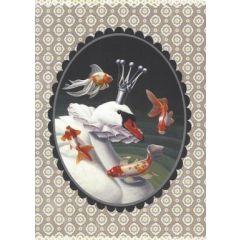 ansichtkaart gwenaëlle trolez - zwaan met vissen