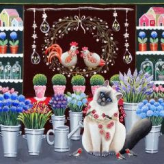 ansichtkaart met envelop gwenaëlle trolez - kat in bloemenwinkel