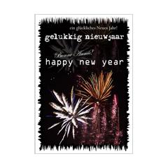 grote nieuwjaarskaart A4 - gelukkig nieuwjaar - happy new year - ein gluckliches neues jahr - vuurwerk