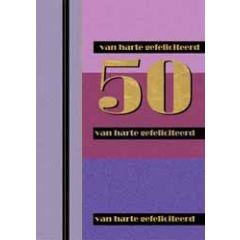 50 jaar - grote felicitatiekaart A4 goud en meer - 50 van harte gefeliciteerd - paars roze